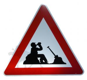 Achtung Bauarbeiter Macht Pause Elchschilder Onlineshop Für