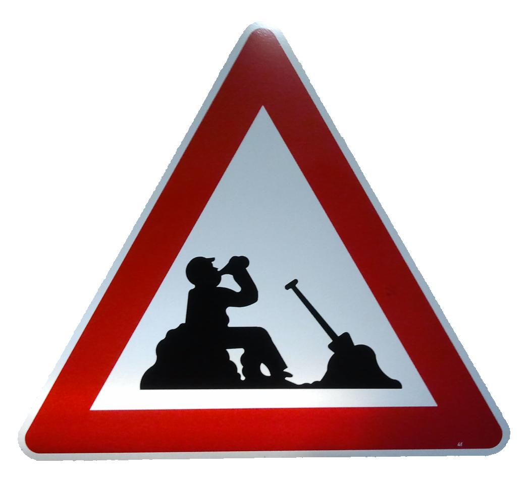 Achtung Bauarbeiter Macht Pause Elchschilder Onlineshop Fur