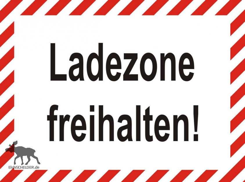 Hinweisschild Ladezone freihalten mit Warnbalken