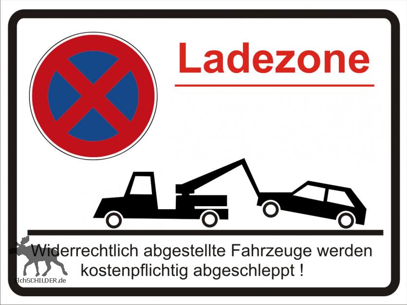 Hinweisschild Parkverbot - Ladezone