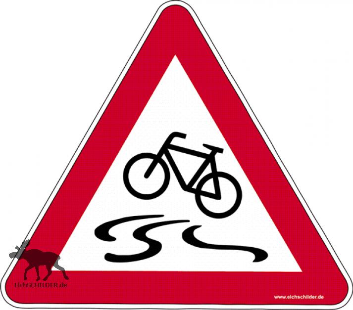 Hinweisschild Vorsicht beim Radfahren