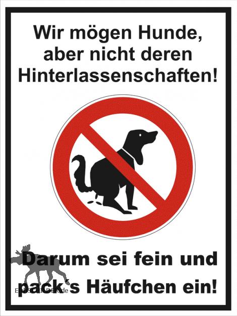 Hinweisschild Kein Hundeklo - packs Häufchen ein C