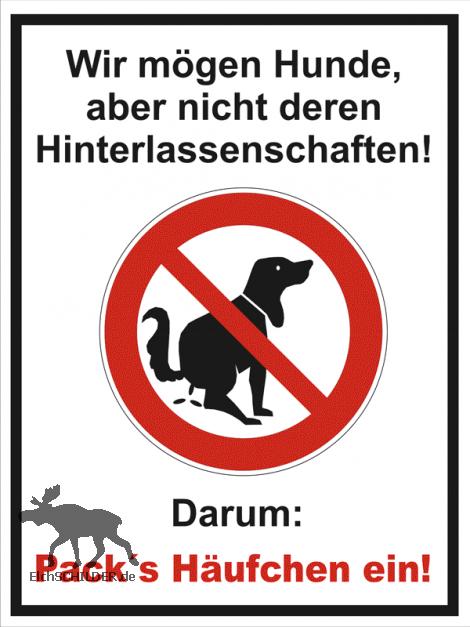 Hinweisschild Kein Hundeklo - packs Häufchen ein B