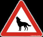 Hinweisschild Achtung Wolf