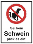 Hinweisschild Kein Hundeklo - pack es ein