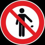 Hinweisschild Müll wegwerfen verboten