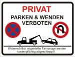 Hinweisschild PRIVAT PARKEN UND WENDEN VERBOTEN
