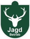 Saugnapfschild Jagdbetrieb Hirschkopf mit Geweih