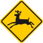 Verkehrsschild Kanada springender Hirsch