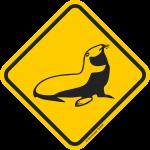 Verkehrsschild Australien Achtung Robbe
